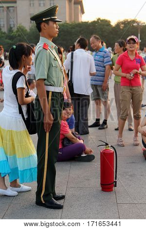 Beijing - July 3: A Soldier Stands Guard At The Tiananmen Square In Beijing, China