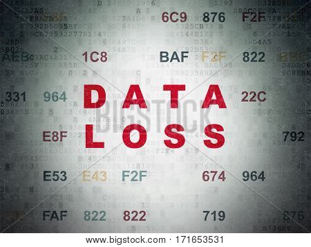 Information concept: Painted red text Data Loss on Digital Data Paper background with Hexadecimal Code