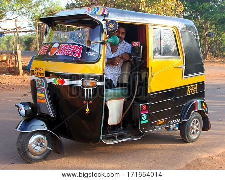 Goa, India - Feb 11, 2014: Indian Auto Rickshaw. Auto Rickshaws (mototaxi Or Tuk-tuk) Are A Common M