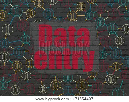 Data concept: Painted red text Data Entry on Black Brick wall background with Scheme Of Binary Code