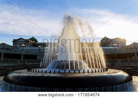Water Fountain At Rear Of The Harrisburg, Pennsylvania