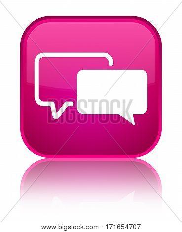 Testimonials Icon Shiny Pink Square Button