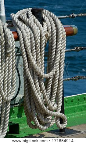 Rigging of a sailing ship, white rope