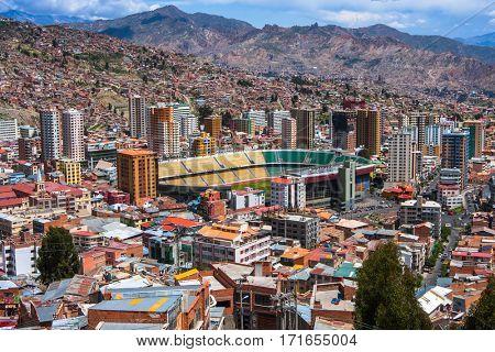 Top view of La Paz, Bolivia.