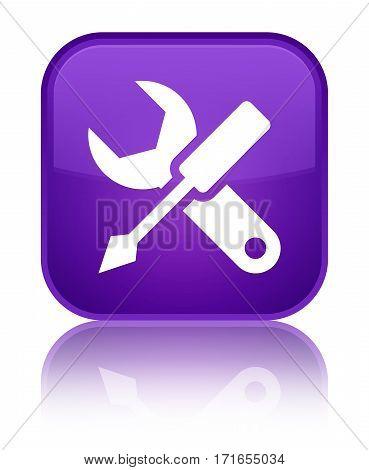 Settings Icon Shiny Purple Square Button