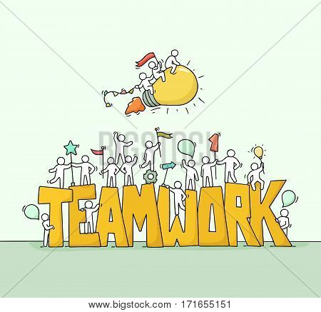 Sketch of working little people with big word Teamwork. Doodle cute miniature scene of workers and flying lamp idea. Hand drawn cartoon vector illustration for business design.