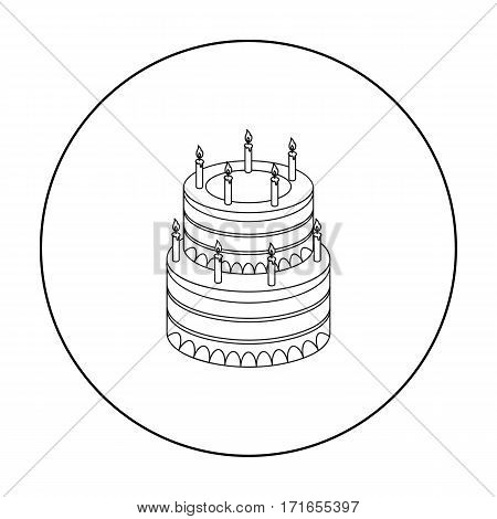 Birthday cake icon in outline design isolated on white background. Cakes symbol stock vector illustration.
