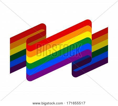 Lgbt Flag Ribbon Isolated. Rainbow Tape Banner. Sign Of Pride Flag. International Symbol Of Lesbian,