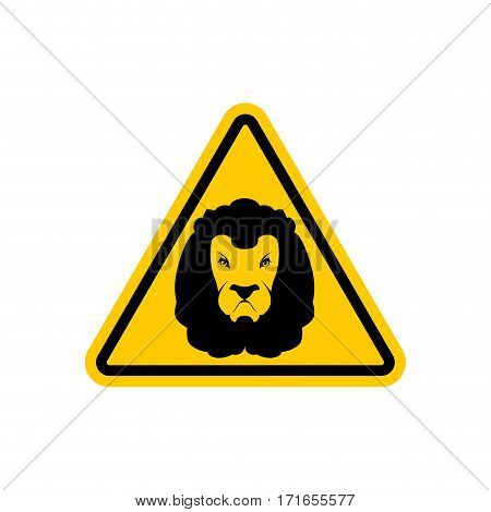 Attention Lion. Leo On Yellow Triangle. Road Sign Caution Predator