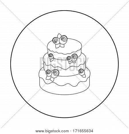 Cake with roses icon in outline design isolated on white background. Cakes symbol stock vector illustration.