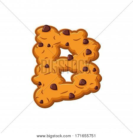 B Letter Cookies. Cookie Font. Oatmeal Biscuit Alphabet Symbol. Food Sign Abc