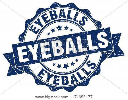 eyeballs. stamp. sign. seal. round. retro. ribbon
