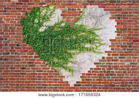 Hole shape heart inside brick wall, Symbol of love, brick wall heart