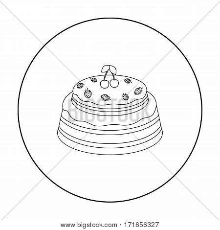 Cake with cherry icon in outline design isolated on white background. Cakes symbol stock vector illustration.