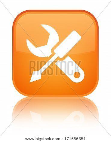 Settings Icon Shiny Orange Square Button