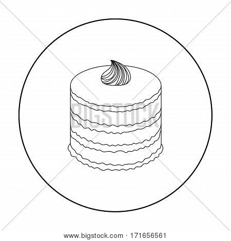 Purple cake icon in outline design isolated on white background. Cakes symbol stock vector illustration.