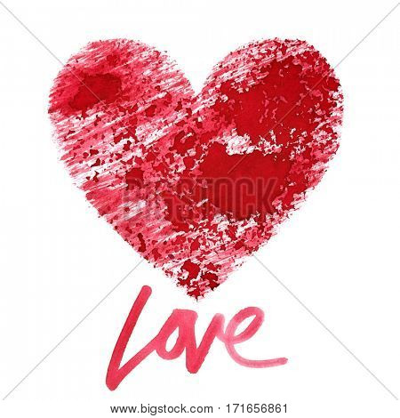 Love. Red stenciled heart with lettering isolated on the white background