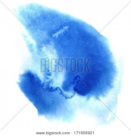 Blue watercolor stain - abstract background