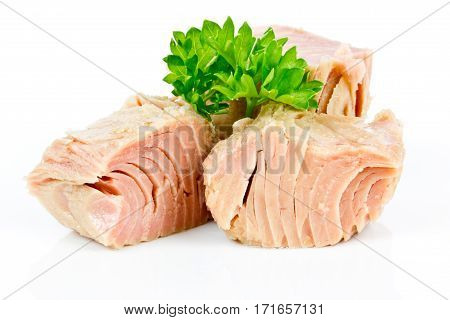 sliced tuna with parsley isolated on white