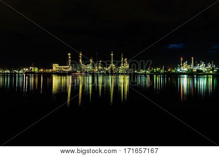 Beautiful city landscape and refection on water in nighttime