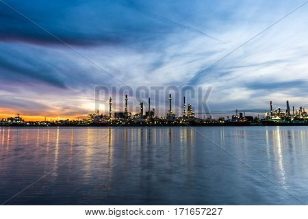 beautiful city landscape two color sky in twilight time
