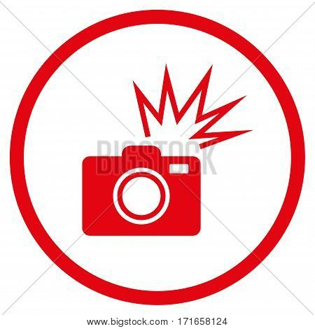 Camera Flash rounded icon. Vector illustration style is flat iconic symbol inside circle red color white background.