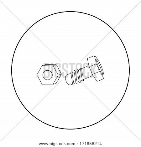 Structural bolt and hex nut icon in outline style isolated on white background. Build and repair symbol vector illustration.