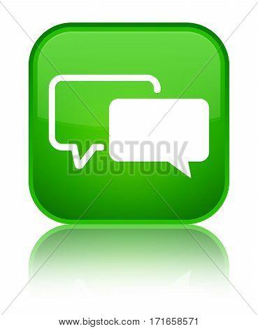 Testimonials Icon Shiny Green Square Button
