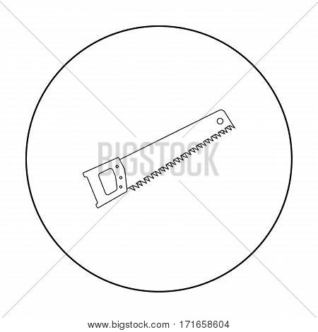 Hand saw icon in outline style isolated on white background. Build and repair symbol vector illustration.