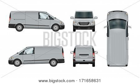 Van vector template. Isolated delivery car on white. The ability to easily change the color. View from side back front and top. All sides in groups on separate layers.