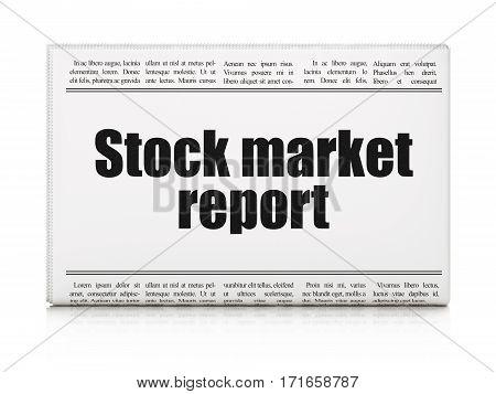 Banking concept: newspaper headline Stock Market Report on White background, 3D rendering