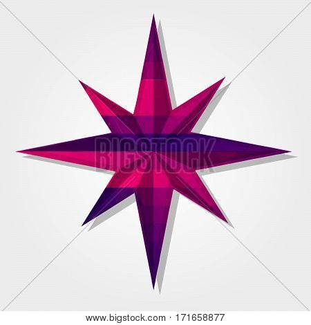 Wind rose symbol with a colored triangles forming a gradient purple to pink..