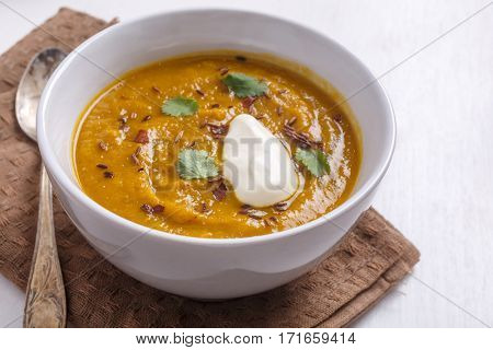 Bowl of Spicy Carrot and Lentil Soup