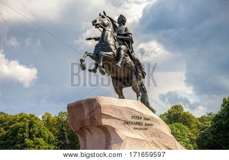 SAINT PETERSBURG RUSSIA - JULY 31 2016: The equestrian monument of Russian emperor Peter the Great known as The Bronze Horseman in St. Petersburg Russia (1782)
