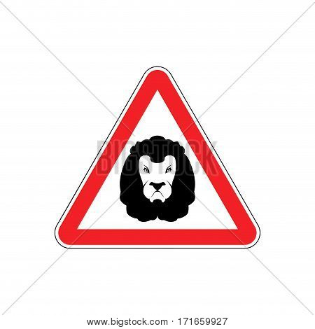 Attention Lion. Leo On Red Triangle. Road Sign Caution Predator