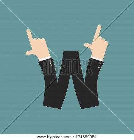 W Letter Businessman Hand Font. It Shows Finger Print. Arm Symbol Alphabet. Sign Of Abc