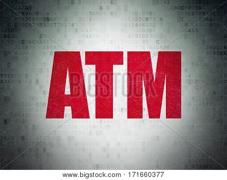 Money concept: Painted red word ATM on Digital Data Paper background