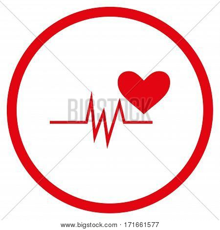 Heart Pulse Signal rounded icon. Vector illustration style is flat iconic symbol inside circle, red color, white background.