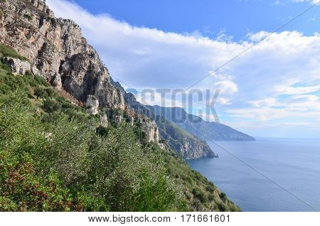 Amalfi coast's rolling hills in Italy along the Mediterranean.