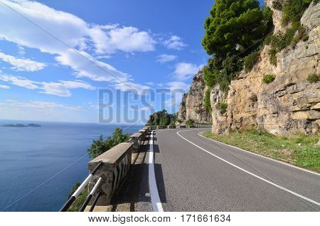 Curving roadway along the Amalfi Coast in Italy.