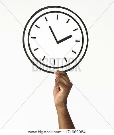Hand Holding Paper Clock Time Icon