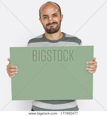 Man Painful Wound Injured Holding Banner Copy Space