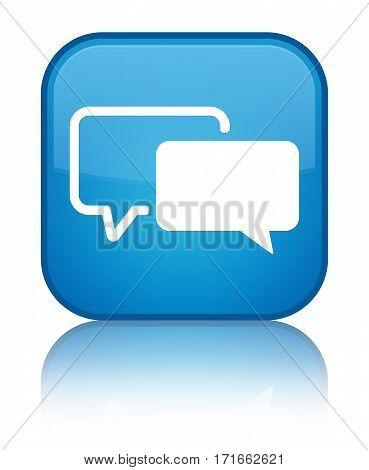 Testimonials Icon Shiny Cyan Blue Square Button