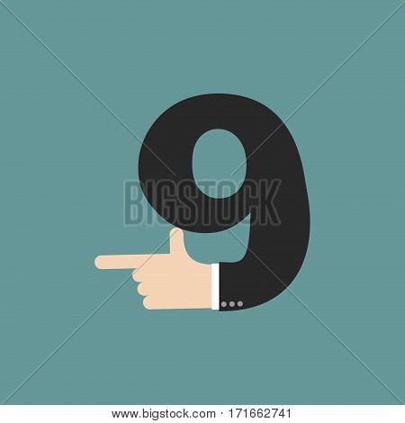 Number 9 Letter Businessman Hand Font. It Shows Finger Print. Arm Symbol Nine Alphabet. Sign Of Abc