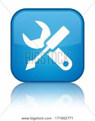 Settings Icon Shiny Cyan Blue Square Button