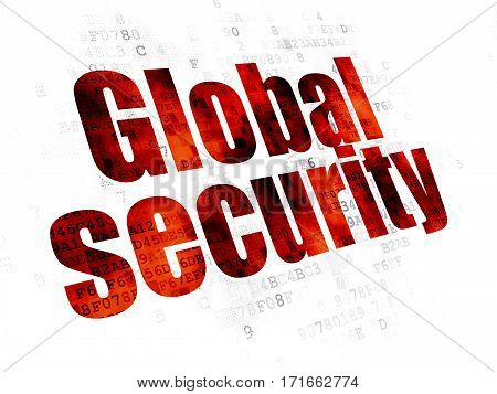 Privacy concept: Pixelated red text Global Security on Digital background