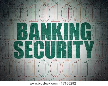 Protection concept: Painted green text Banking Security on Digital Data Paper background with Binary Code