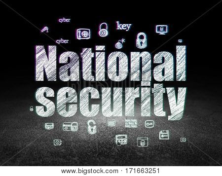 Privacy concept: Glowing text National Security,  Hand Drawn Security Icons in grunge dark room with Dirty Floor, black background