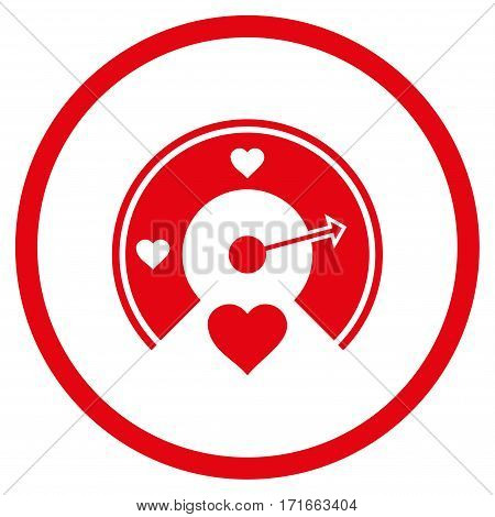 Love Gauge rounded icon. Vector illustration style is flat iconic symbol inside circle, red color, white background.