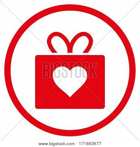 Love Gift rounded icon. Vector illustration style is flat iconic symbol inside circle, red color, white background.